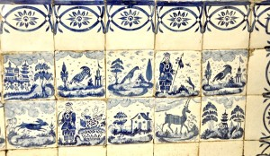 Several centuries old Japanese tiles cover the kitchen walls.