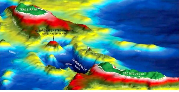 Bathymetric map of the Bank of João de Castro area, between the islands of Terceira and São Miguel, Azores
