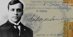 Consul Aristides de Sousa Mendes. On the background, one of the 30.000 visas given to refugees.