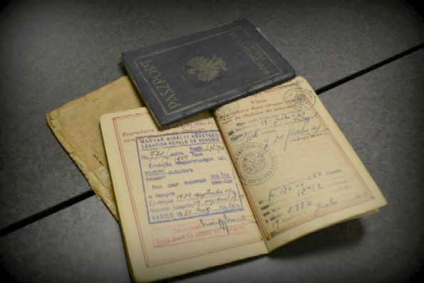Photo of actual Subotnik family passports stamped and signed by Sousa Mendes during Holocaust.
