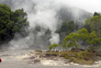 Fumaroles, geysers and thermal waters variety in the caldera of Furnas.