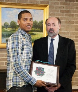 From left, Bruno Ramos of Pawtucket and RIC Dean of the Faculty of Arts and Sciences Earl Simson.