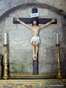 Restored 14th century Christ on a cross, Mosteiro de Crasto