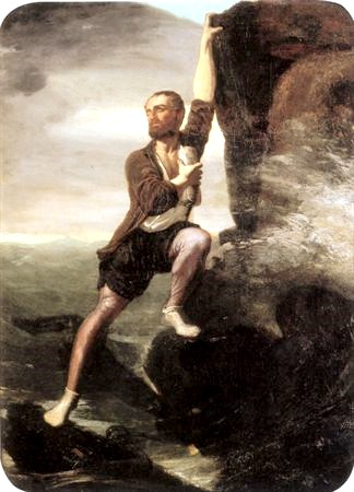 """Camões Saving The Lusiads"" – Oil on canvas by Francisco José de Resende, 1867 - Museu do Chiado-Museu Nacional de Arte Contemporânea, Lisbon, Portugal."