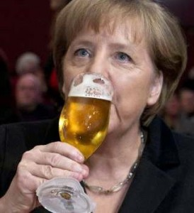 German premier Angela Merkel prefers lager beer...