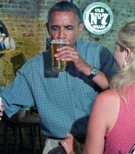 American President Barack Obama prefers a Miller Light draft beer...