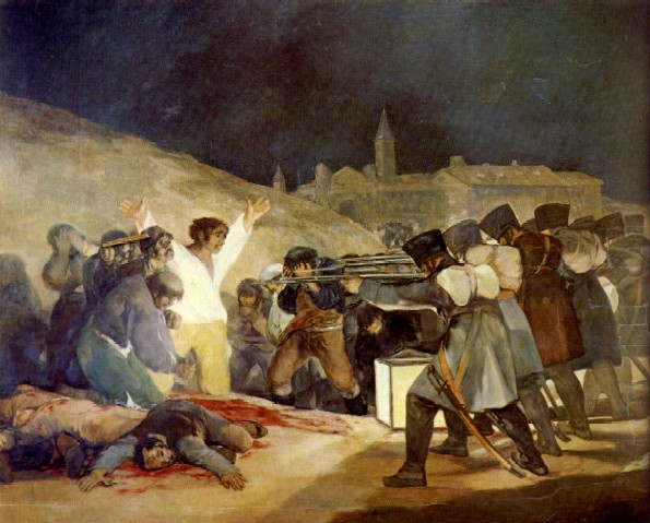 The Third of May 1808 (also known as El tres de mayo de 1808 en Madrid, or Los fusilamientos de la montaña del Príncipe Pío, or Los fusilamientos del tres de mayo) is a painting completed in 1814 by the Spanish painter Francisco Goya, now in the Museo del Prado, Madrid. Oil on canvas. Dimensions: 106 by 137 inches.