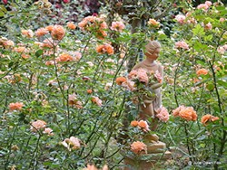 Sculpture in a rose garden