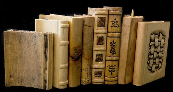 A group of book sculptures by João Martins.