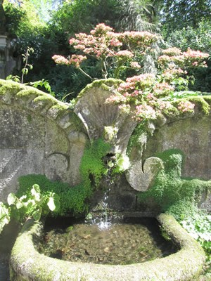 One of their many fountains in the garden.