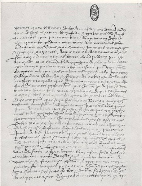 First page of Pêro de Caminha's Letter in 1500.