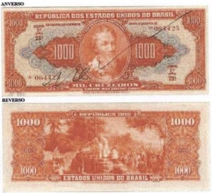 "Brazilian currency showing reproduction of Meireles's painting ""A Primeira Missa."""