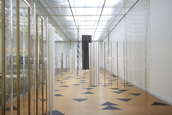 "Installation view, Leonor Antunes, ""I Stand Like A Mirror Before You"", 2015. New Museum of Contemporary Art. Photograph by Benoit Pailley, courtesy of the New Museum."