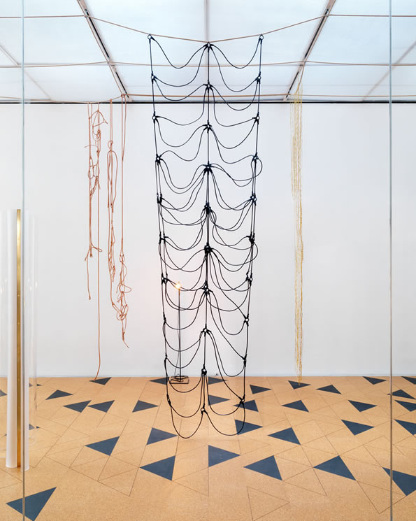 "Installation view, Leonor Antunes, ""I Stand Like A Mirror Before You"", 2015. New Museum of Contemporary Art. Photograph by Maris Hutchinson, courtesy of the New Museum."