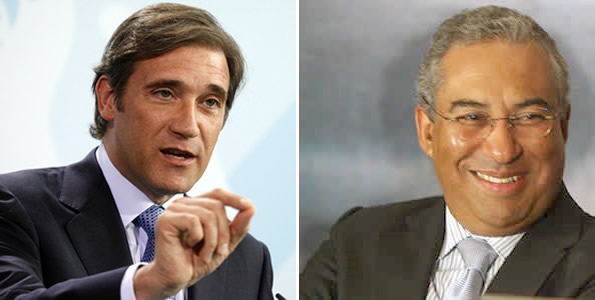 The candidates: Conservative Pedro Passos Coelho and Socialist António Costa.