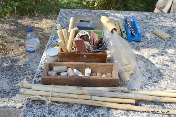 Tools and materials. Cane workshop in Querença, Loulé, Portugal.