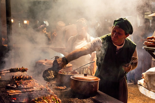 Food stall. Medieval Festival in Óbidos. Winner: Pink Lady Food Photographer of the Year 2015, Food for Celebration category.