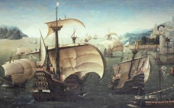 Portuguese ships in a painting from circa 1540, a time when Portugal was the leading maritime power in the Indian Ocean.