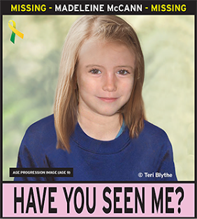 A small poster with an age-enhanced image of Madeleine McCann.