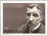 Commemorative stamp marking the 150th. birthday of Eça de Queiroz.