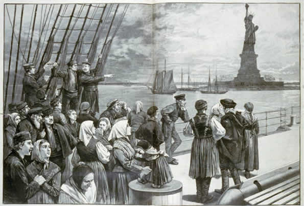 Immigrants behold the Statue of Liberty.