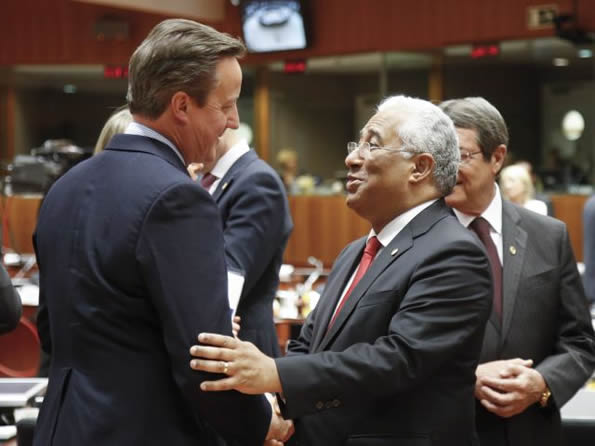 Prime Ministers of UK and Portugal: David Cameron and António Costa.