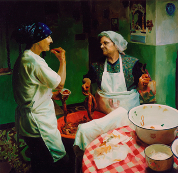 Filling the chouriços (2004), oil on canvas, 32inx32in