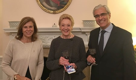 Ambassador Fezas Vital and his wife with (center) Ms. Martine Saunier.