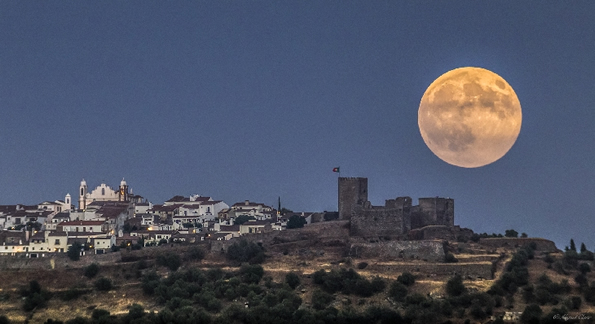 Super moon over Monsaraz, Algarve. Portugal.