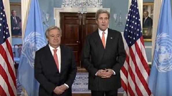 Secretary Kerry met with the honorable Antonio Guterres at the State Dept. in Washington. Mr. Kerry told the new UN Secretary General: 'I am extremely pleased to welcome here the new secretary-general of the United Nations , Antonio Guterres, who brings very, very special and important skills to this job at this particular moment in time.'